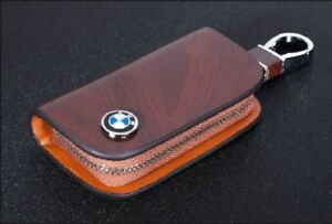 BMW Leather Car Key Keychain Fob Case Holder Zipper Cover High Quality Brown