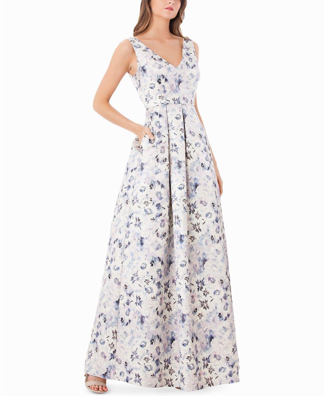 JS COLLECTIONS damen Weiß Blau lila METALLIC FLORAL GOWN DRESS Größe 12