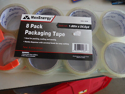 HAL Packaging Tape Dispenser 8 Clear Rolls Included 1.88 X 54.6 yd MaxEnerg  NIP