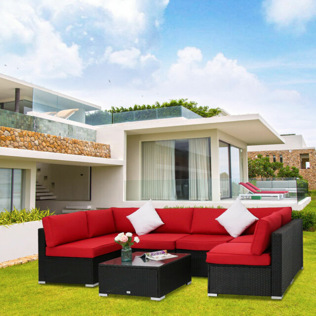 7pc Outdoor Patio Sofa Set Sectional Furniture Wicker Rattan W Cushion Red New