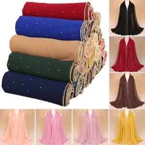 Pop-Muslim-Women-Rhinestone-Chiffon-Scarf-Hijab-Shawl-Wrap-Plain-Scarves-Stole
