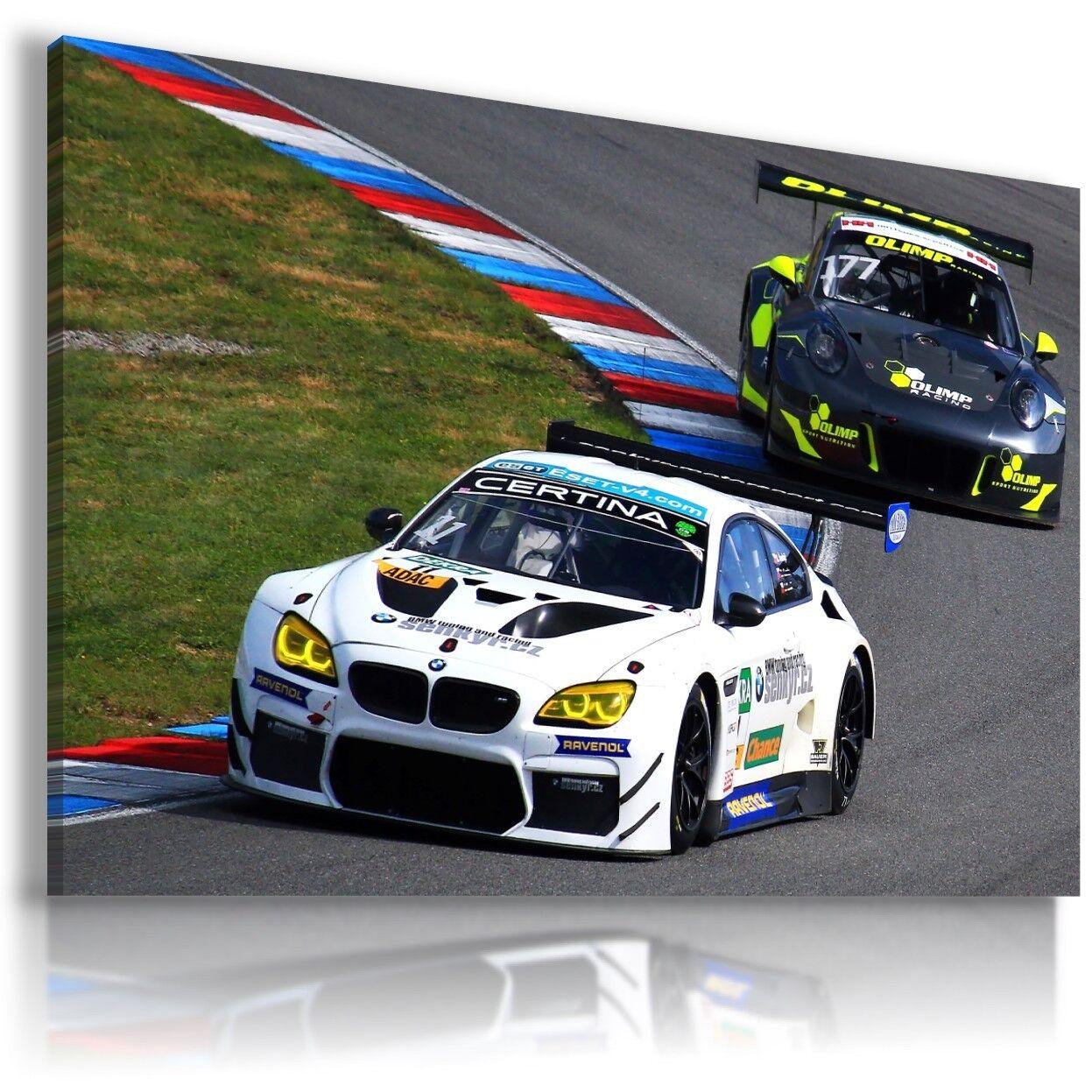 BMW Racing Bianco Nero auto sportive Wall Art foto su tela AU811 mataga