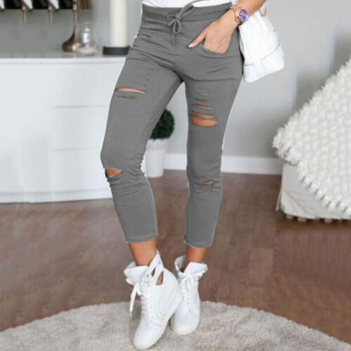 Womens Skinny Pencil Pants Jeggings High Waist Stretch Slim Fit Jeans Trousers