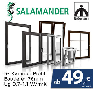 fenster 50cm x 50cm dreh kipp fenster profil 76mm salamander werkpreise ebay. Black Bedroom Furniture Sets. Home Design Ideas