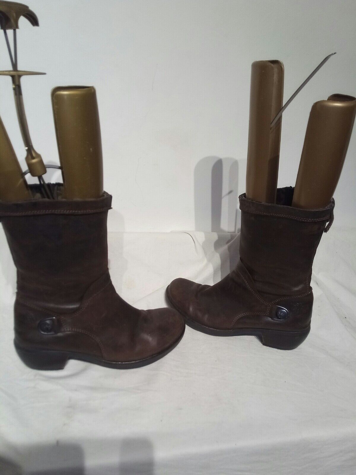 Fly London Brown Ladies Mid Calf Boots Size 4 Ref Ba04 Pls Read Discription
