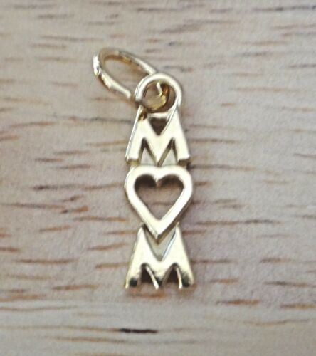 14 Kt Gold Vermeil over Sterling Silver 17x6mm says Mom with Heart Charm!
