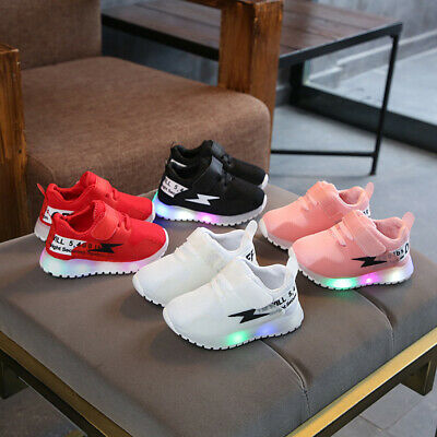 Kids Boys Girls Sports Shoes LED Luminous Casual Sneakers Baby Toddlers Trainers