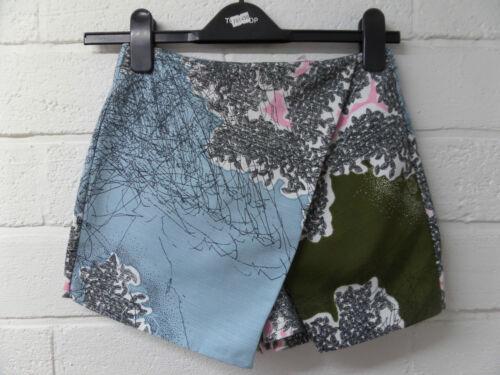 8-12 Pour femme nouveau court cool blue floral imprimé forêt skorts short