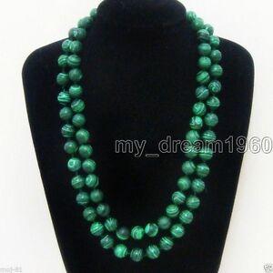 Beautiful-10mm-Green-Malachite-Natural-Gemstone-Round-Beads-Necklace-33-039-039-Long