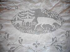 Vintage Filet Crochet White Linen Hunter Tablecloth & Napkins Deer Ducks Large