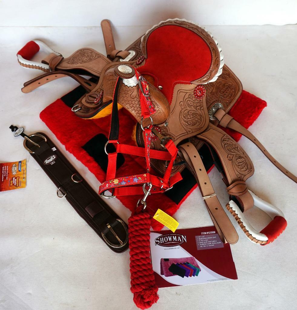 Kids 10  Super Cute Red 5pc pkg 20  girth Lead+Halter Pad Trail Leadline Saddle