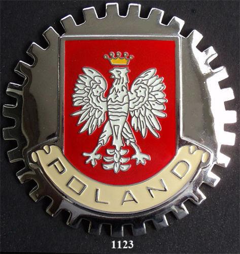 POLAND FALCON FLAG CAR GRILLE BADGE CHROME EMBLEM RED POLISH EAGLE