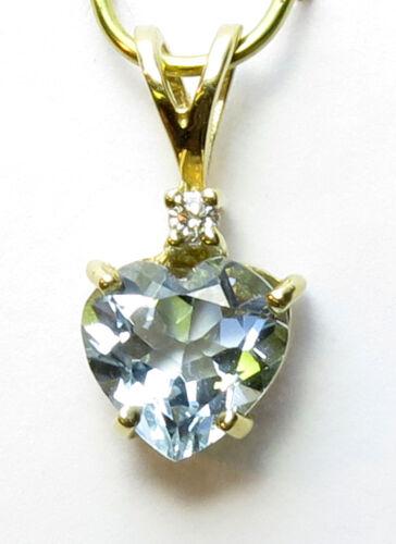 and Diamond Heart shaped Pendant 14K Solid  YG Genuine Aquamarine=1.05ct