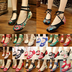 Womens-Chinese-Embroidered-Flower-Flat-Shoes-Comfy-Mary-Jane-Ballet-Cotton-Pump