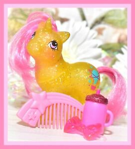 My-Little-Pony-MLP-G1-Vtg-BABY-SPARKLE-GUSTY-Glitter-Unicorn-Pink-Star-COMB