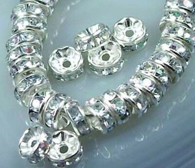 25 AA Silver Rhinestone Rondelle Beads Waves Edge 8mm