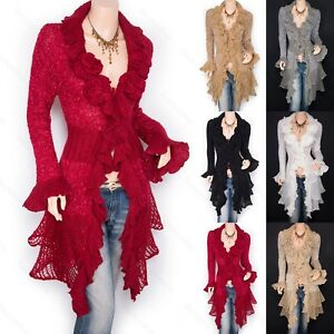 Trendy-Ruffled-Floral-Applique-Tiered-Hem-Cardigan-Long-Sweater-Jacket