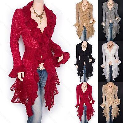 Trendy Ruffled Floral Applique Tiered Hem Cardigan Long Sweater Jacket