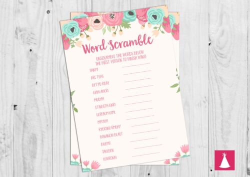 Baby Word Unscramble Baby Shower Game Floral Pink Baby Girl.