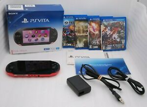 Used-PS-Vita-Console-Pink-Black-PCH-2000-Wi-Fi-w-Charger-Box-16GB-Card-amp-4Games