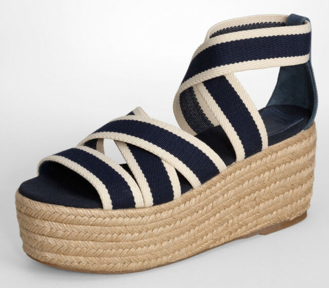 0b41a98ee NEW TORY BURCH Contrast Elastic Espadrille Platform Wedge 10 B Sandal Navy  Blue
