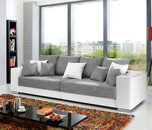 Details Zu Bigsofa Adria Big Sofa Couch In Weiss Bezug Webstoff Hellgrau Mit Vielen Kissen