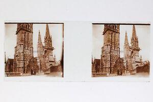 Francia Eglise A Identificare Foto Stereo T2L8n7 Placca Da Lente Vintage