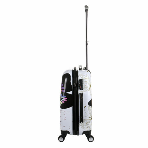 New White Butterfly 4-Wheel Hard Shell Suitcase PC Hand Luggage Trolley Cabin