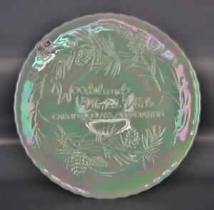Modern-Fenton-WOODSLAND-PINE-Sea-Mist-Green-Carnival-Souvenir-Plate-4469