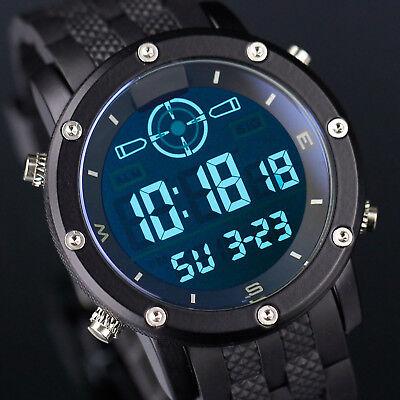 INFANTRY Herren Digitaluhr Armbanduhr Uhr Alarm Datum Multifunktionsuhr Gummi