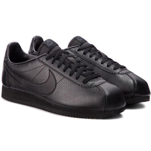 official photos 931b4 4eea3 Nike Classic Cortez Premium Leather Black Trainers UK 12 BNIB  UNUSED