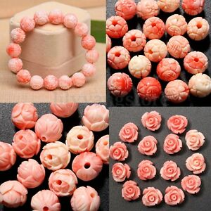New-8mm-20Pcs-Howlite-Pink-Shell-Carved-Round-Beads-Loose-Beads-Gemstone-Jewelry