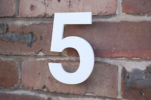 Large modern acrylic house number gloss white 150mm 6 for Big modern house numbers