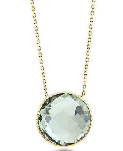 14K Yellow Gold Gemstone Necklace With A Green Amethyst Solitaire 16 Inches