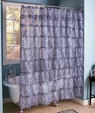 Zebra Ruffled Tier Shower Curtain Chic Layered Crushed Voile Animal Print Bath