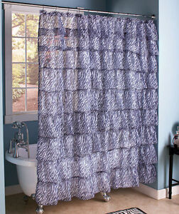 Image Is Loading Zebra Ruffled Tier Shower Curtain Chic Layered Crushed