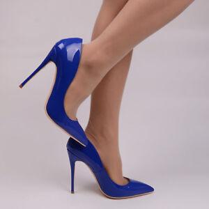 a78265ccebe5 talons Bleu Sexy Cuir Luxe 34 Au 8 Escarpins 12cm Vernis 43 Roi 10 neuves  xqYTInxwB