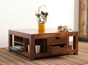 Couchtisch Wohnzimmertisch Tisch Akazie Massiv Holz 80x80cm 4