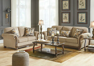 Details about BRADFORD Traditional Wood Trim Brown Fabric Living Room Sofa  Couch Loveseat Set