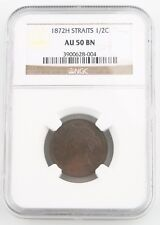 1872-H Straits Settlements 1/2 Cent Coin Graded by NGC AU-50 BN  KM# 8