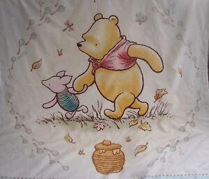Pooh-amp-Piglet-Cotton-Top-Blue-Minkee-Cot-Blanket-Handmade