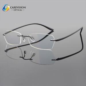ceb013c1952 Image is loading Myopia-Eyeglass-Frames-Flexible-Optical-Rimless-Clear-lens-