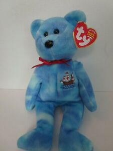 Ty Beanie Babies Santa Maria, Columbus ship bear, 2004, PE Pellets, Mint w/ Tag