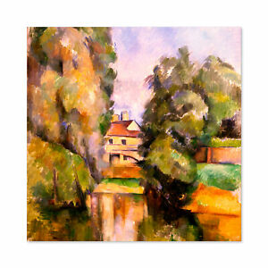 Paul-Cezanne-Country-House-By-A-River-Cropped-Large-Wall-Art-Print-Square-24X24