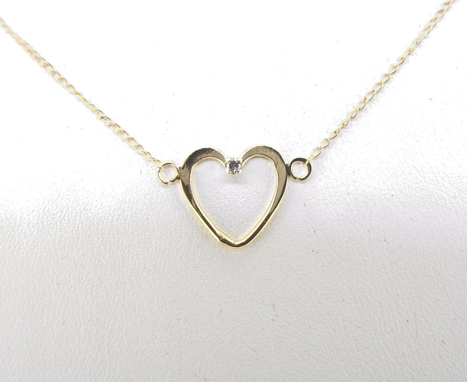 Pendant 14K Yellow gold Open Heart with small diamond 17 1 4  light curb chain