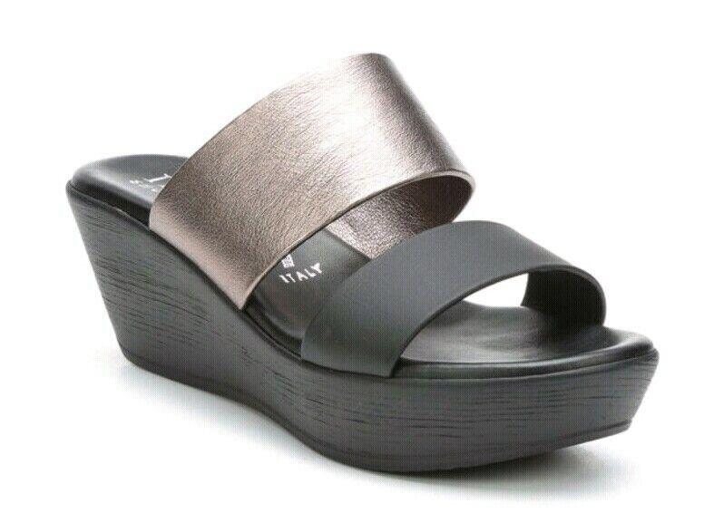 Italian shoesmakers Hanni Wedge Sandals  shoes Black Women's Size 9.5