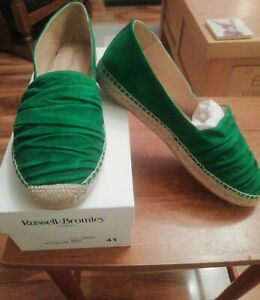 Russell-amp-Bromley-Green-Suede-Ruffle-Flat-Espadrilles-size-41