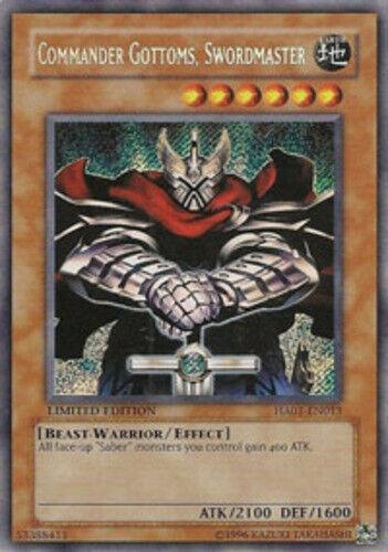 Lightly Limited x3 HA01-EN013 Swordmaster Commander Gottoms Secret Rare