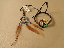 hand crafted DREAM CATCHERS 1 blue key chain and 1 black adjustable bracelet