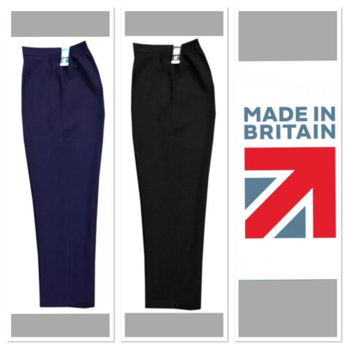 Ladies Elasticated Waist Pull Up Trousers With Side Pockets   In STRETCH FABRIC